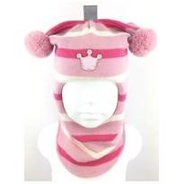 Žaisminga, dryžuota kepurė-šalmas su vilna mergaitei 1412/34