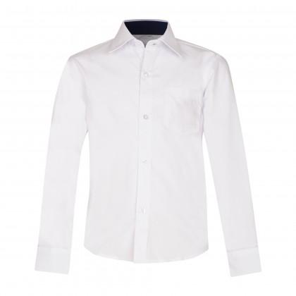 Balti, siaurinto modelio marškiniai ilgomis rankovėmis